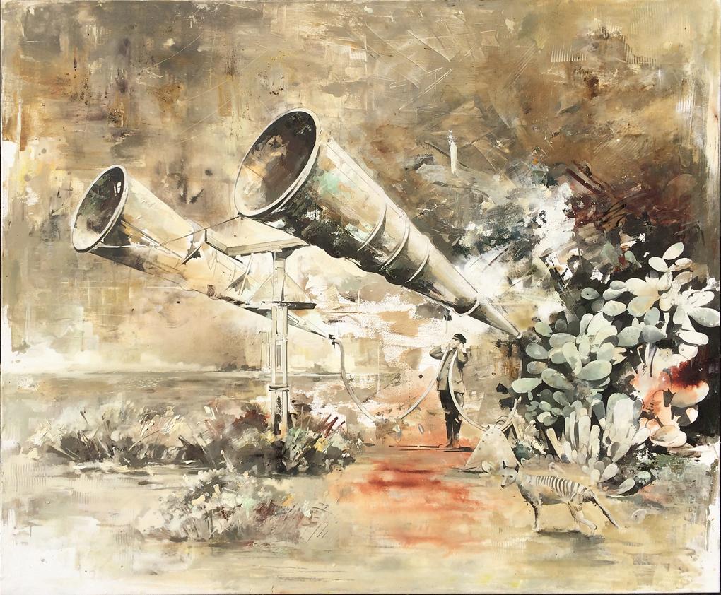 05 - Lauschangriff , 140 x 170 cm , Öl auf Leinwand, 2016