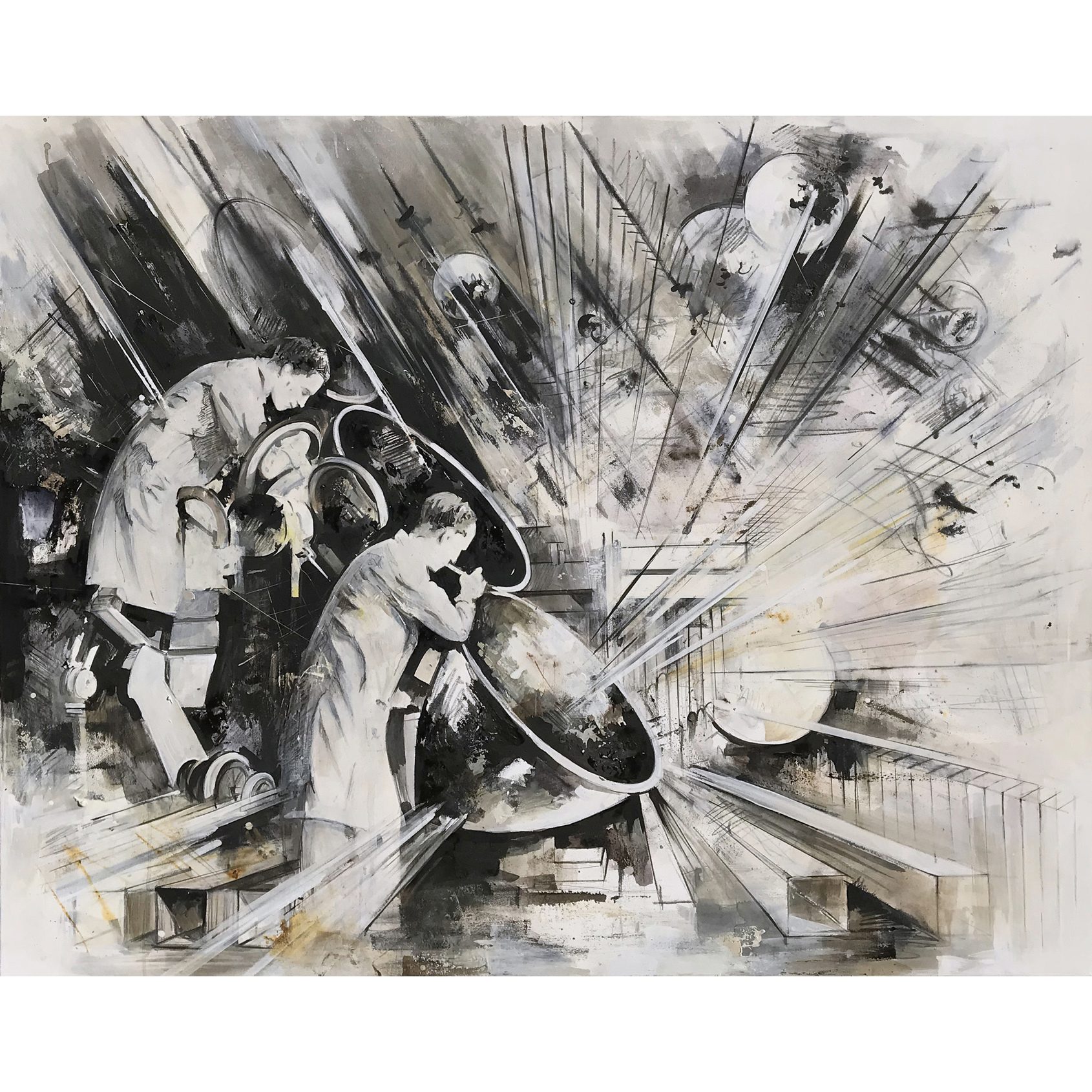 Utopia XXIII, 110 x 145 cm,  Öl, Stifte, Tusche auf Leinwand, 2019