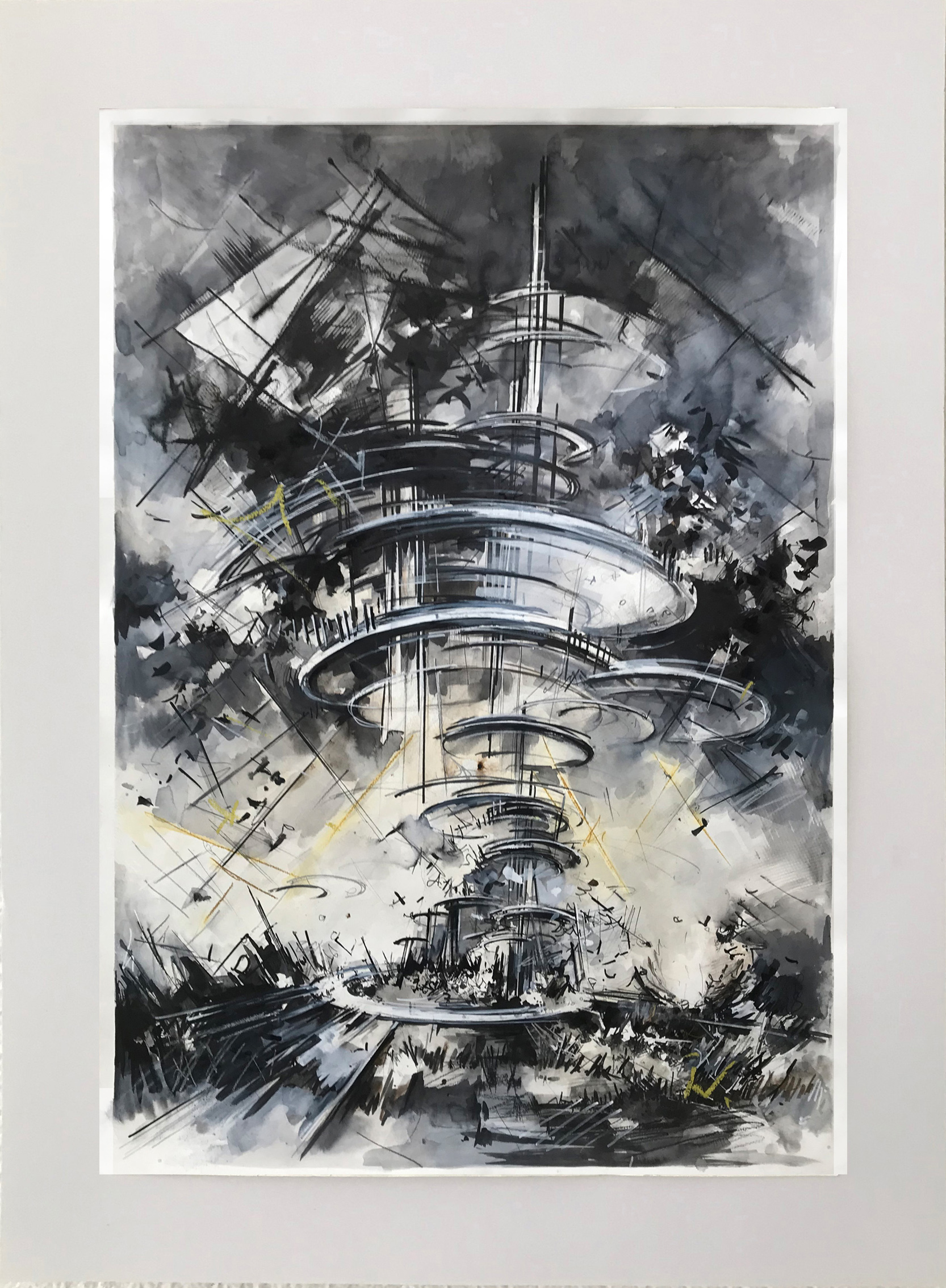 Utopia draft #33, 110 x 75 cm ,  ink, marker, pencil, crayon on paper, 2019