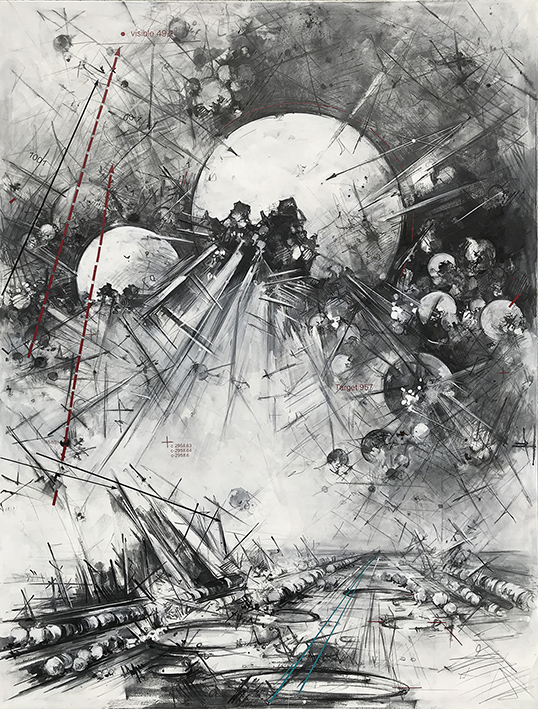 Transformations #2843, graphite, oil on canvas, 190 x140 cm, 2020