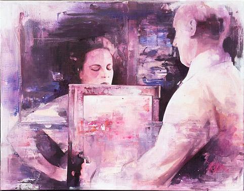 Man at the door, 65 x 85 cm,  Öl auf Leinwand, 2016