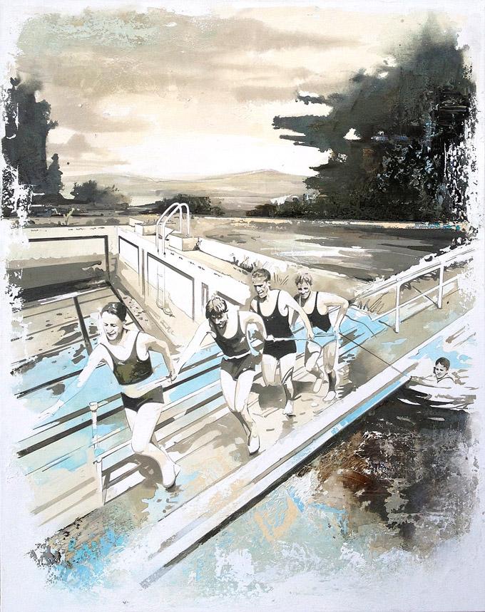 Pooltime 04, 130 x 105  cm, Öl auf Leinwand , 2014