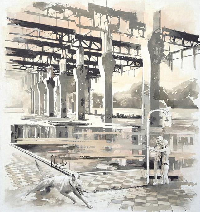 Pooltime 06 , 170 x 160  cm, Öl auf Leinwand , 2014