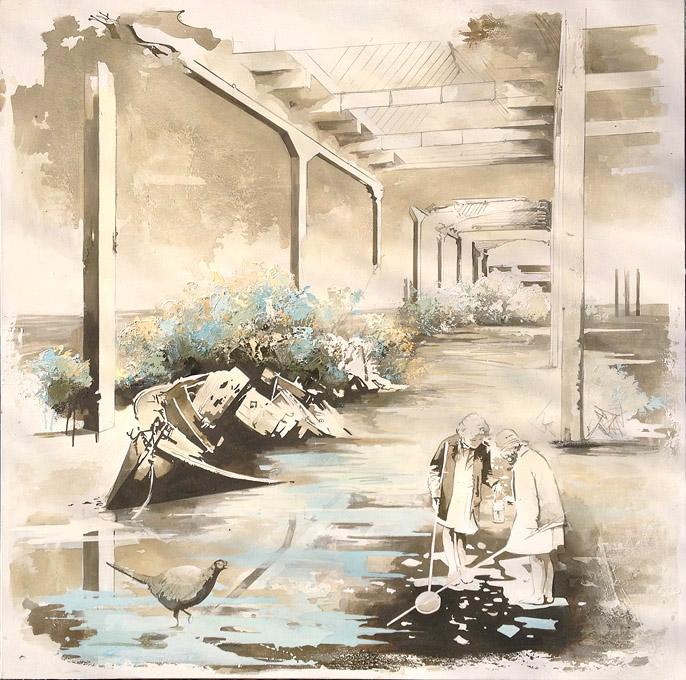 Pooltime 12, 150 x 150  cm, Öl auf Leinwand , 2014